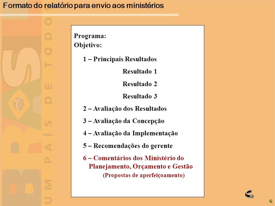 6 Objetivo: 1 – Principais Resultados Resultado 1 Resultado 2 Resultado 3 2 – Avaliação dos Resultados 3 – Avaliação da Concepção 4 – Avaliação da Imp