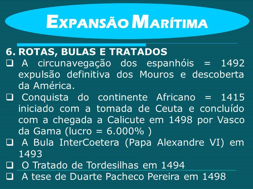 6.ROTAS, BULAS E TRATADOS A circunavegação dos espanhóis = 1492 expulsão definitiva dos Mouros e descoberta da América. Conquista do continente Africa