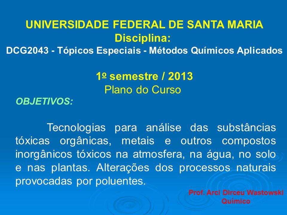 UNIVERSIDADE FEDERAL DE SANTA MARIA Disciplina: DCG2043 - Tópicos Especiais - Métodos Químicos Aplicados 1 o semestre / 2013 Plano do Curso OBJETIVOS:
