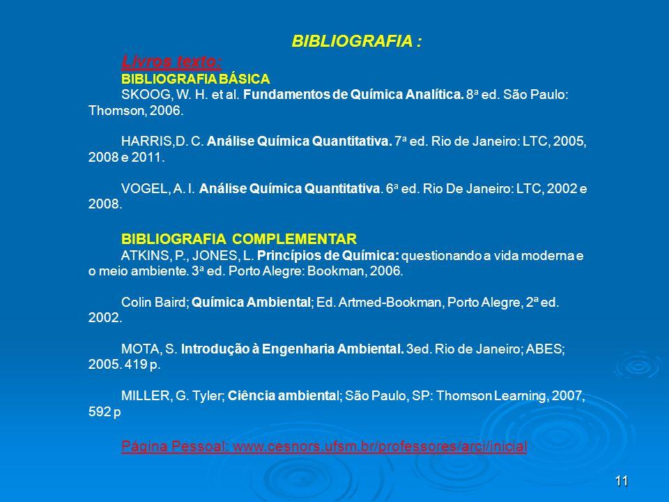 11 BIBLIOGRAFIA : Livros texto: BIBLIOGRAFIA BÁSICA SKOOG, W. H. et al. Fundamentos de Química Analítica. 8 a ed. São Paulo: Thomson, 2006. HARRIS,D.