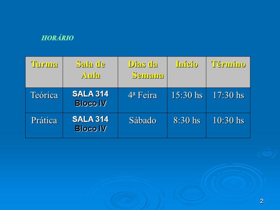 3 CALENDÁRIO DE ATIVIDADES : Atividade Semana 1 Quarta 07/mar -Apresentação da disciplina.