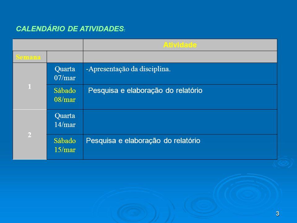 3 CALENDÁRIO DE ATIVIDADES : Atividade Semana 1 Quarta 07/mar -Apresentação da disciplina. Sábado 08/mar Pesquisa e elaboração do relatório 2 Quarta 1