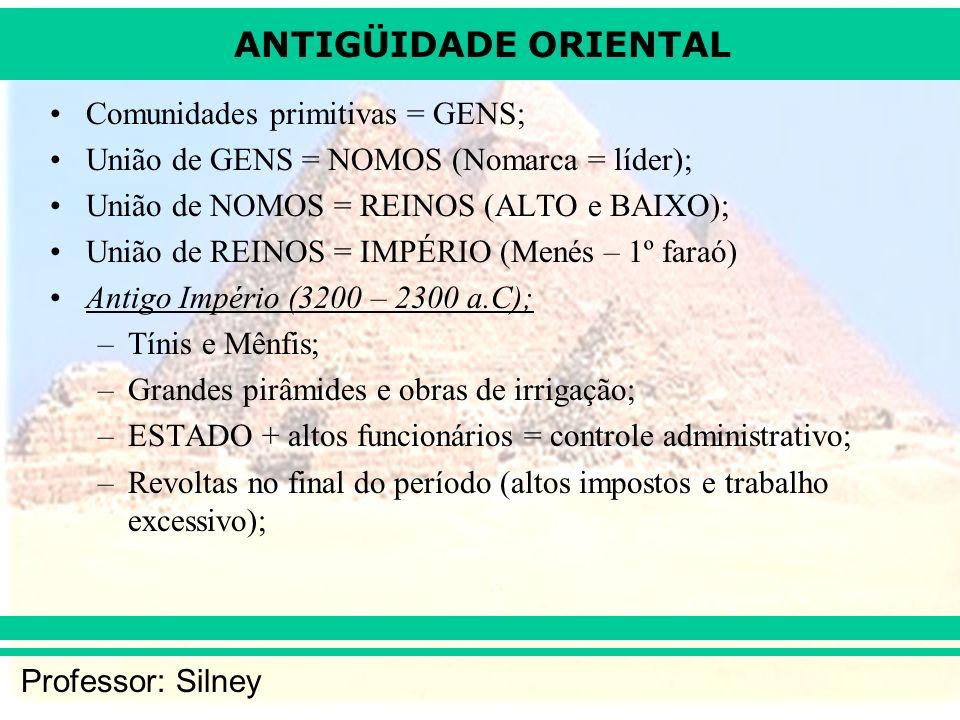 ANTIGÜIDADE ORIENTAL Professor: Silney Comunidades primitivas = GENS; União de GENS = NOMOS (Nomarca = líder); União de NOMOS = REINOS (ALTO e BAIXO);