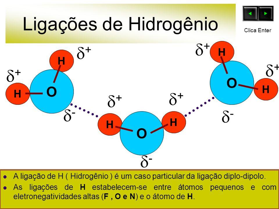 Ligações de Hidrogênio O H H H H O O H H + - + + + + + - - Clica Enter A ligação de H ( Hidrogênio ) é um caso particular da ligação diplo-dipolo. As