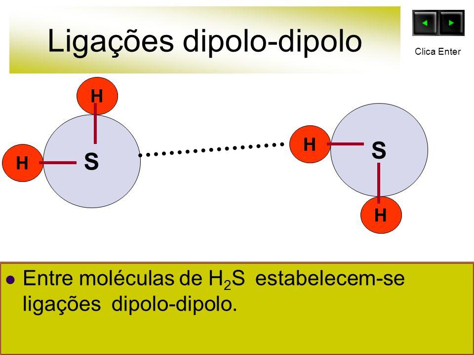 Ligações dipolo-dipolo H H H H S Entre moléculas de H 2 S estabelecem-se ligações dipolo-dipolo. S Clica Enter