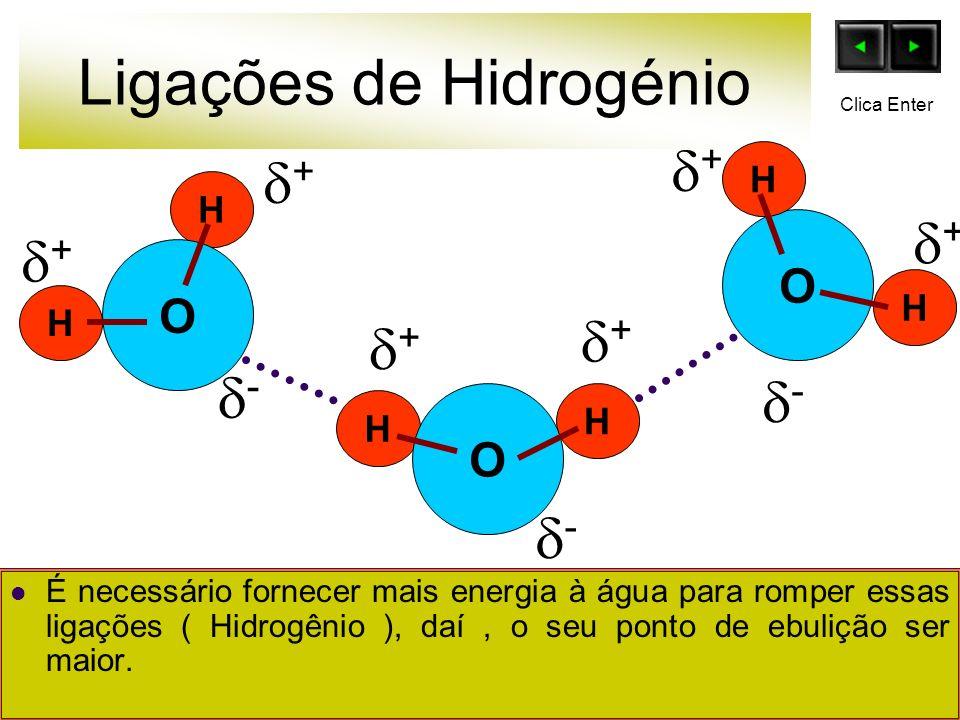 Ligações de Hidrogénio É necessário fornecer mais energia à água para romper essas ligações ( Hidrogênio ), daí, o seu ponto de ebulição ser maior. O