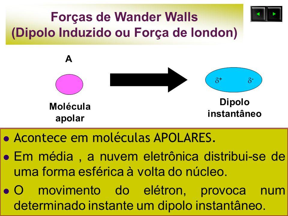 Forças de Wander Walls (Dipolo Induzido ou Força de london) Acontece em moléculas APOLARES. Em média, a nuvem eletrônica distribui-se de uma forma esf