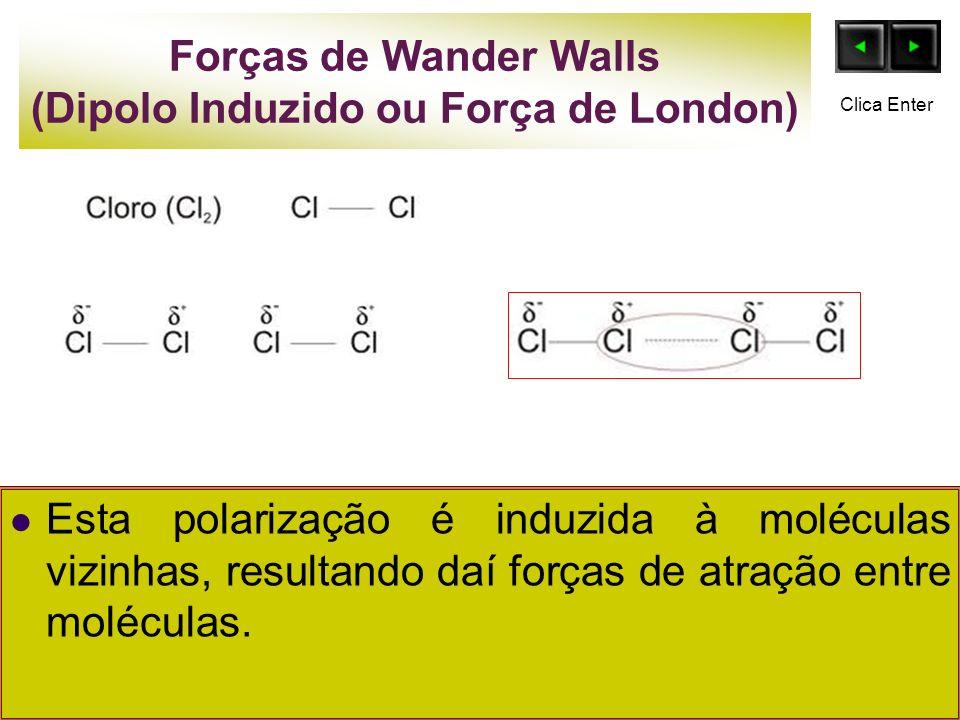 Forças de Wander Walls (Dipolo Induzido ou Força de London) Esta polarização é induzida à moléculas vizinhas, resultando daí forças de atração entre m