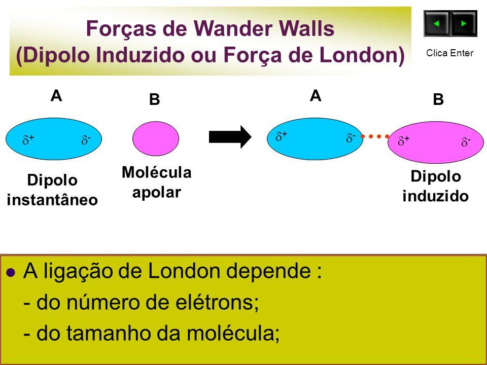 Forças de Wander Walls (Dipolo Induzido ou Força de London) A ligação de London depende : - do número de elétrons; - do tamanho da molécula; B Molécul