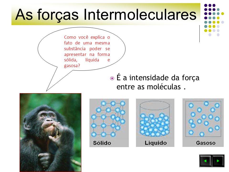 As forças Intermoleculares Importante: Quanto menos intensas forem as forças intermoleculares, mais volátil será a substância e menor será sua temperatura de ebulição.