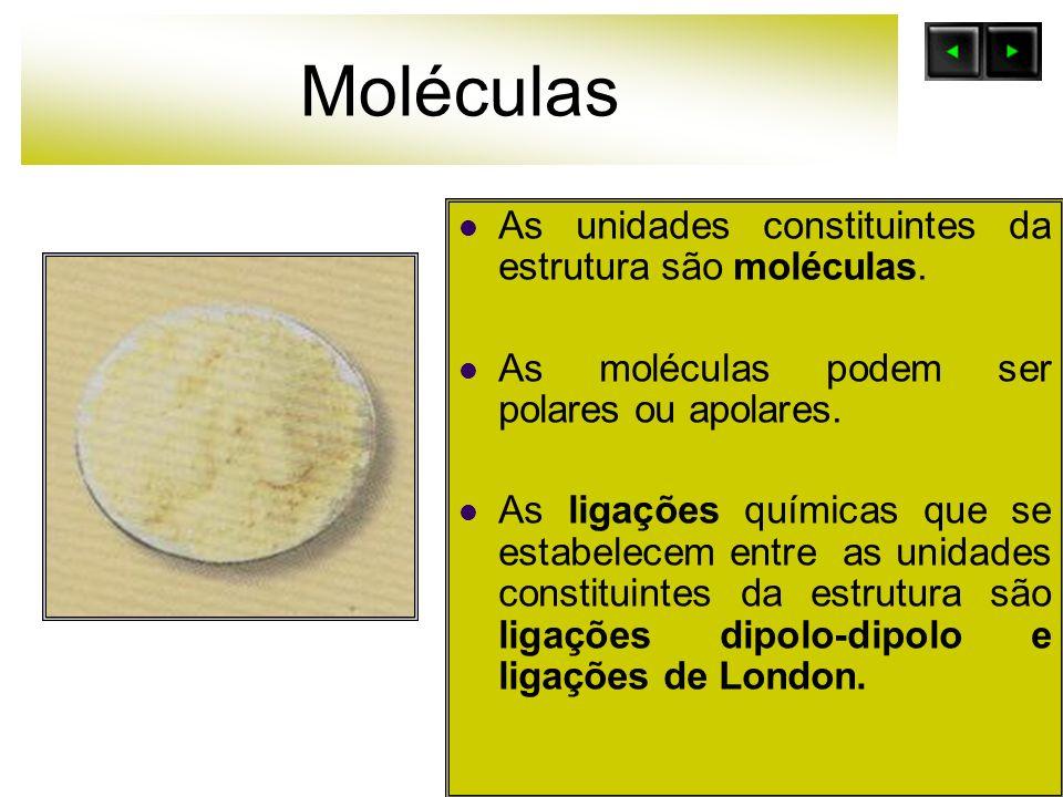 Moléculas As unidades constituintes da estrutura são moléculas. As moléculas podem ser polares ou apolares. As ligações químicas que se estabelecem en