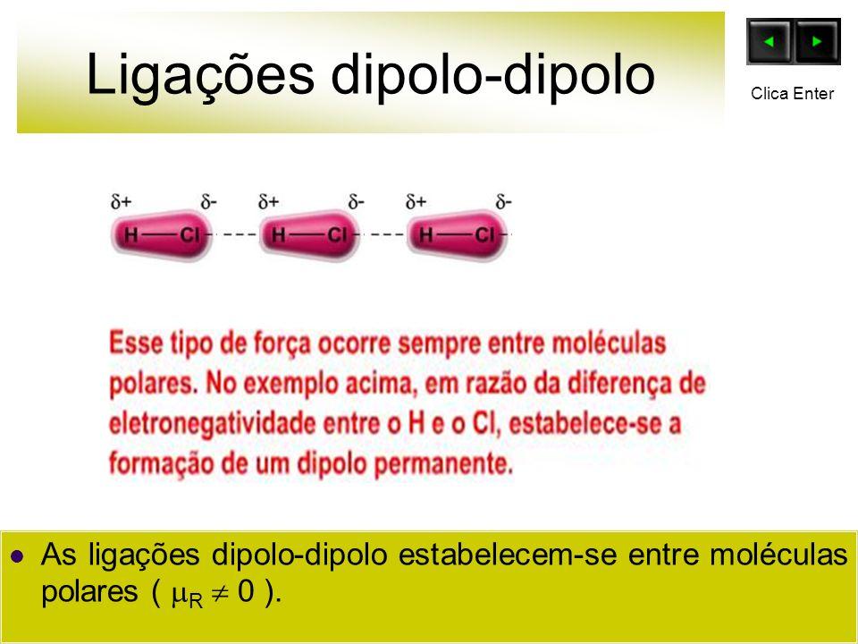 Ligações de Hidrogênio O H H H H O O H H + - + + + + + - - Clica Enter A ligação de H ( Hidrogênio ) é um caso particular da ligação diplo-dipolo.