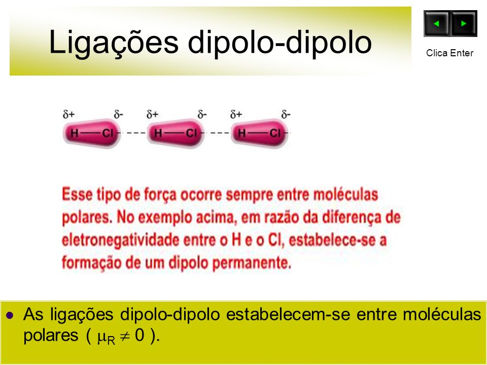Ligações dipolo-dipolo As ligações dipolo-dipolo estabelecem-se entre moléculas polares ( R 0 ). Clica Enter