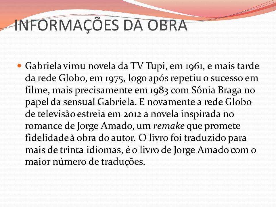 INFORMAÇÕES DA OBRA Gabriela virou novela da TV Tupi, em 1961, e mais tarde da rede Globo, em 1975, logo após repetiu o sucesso em filme, mais precisa