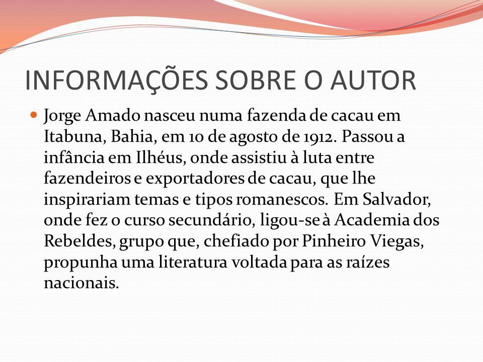 INFORMAÇÕES SOBRE O AUTOR Radicado desde 1930 no Rio de Janeiro, Amado estudou direito e estreou logo a seguir em livro, publicando com notável regularidade os romances de sua primeira fase, todos marcados pela técnica do realismo socialista: O país do carnaval (1932), Cacau (1933), Suor (1934), Jubiabá (1935), Mar morto (1936), Capitães de areia (1937), Terras do sem fim (1942), São Jorge dos Ilhéus (1944), Seara vermelha (1946), Os subterrâneos da liberdade (1952).