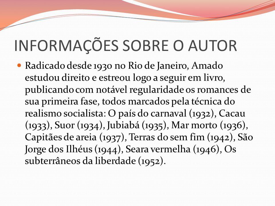INFORMAÇÕES SOBRE O AUTOR Radicado desde 1930 no Rio de Janeiro, Amado estudou direito e estreou logo a seguir em livro, publicando com notável regula