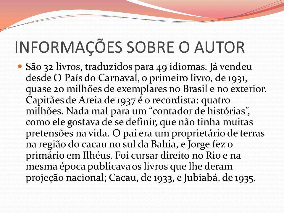 INFORMAÇÕES SOBRE O AUTOR São 32 livros, traduzidos para 49 idiomas. Já vendeu desde O País do Carnaval, o primeiro livro, de 1931, quase 20 milhões d
