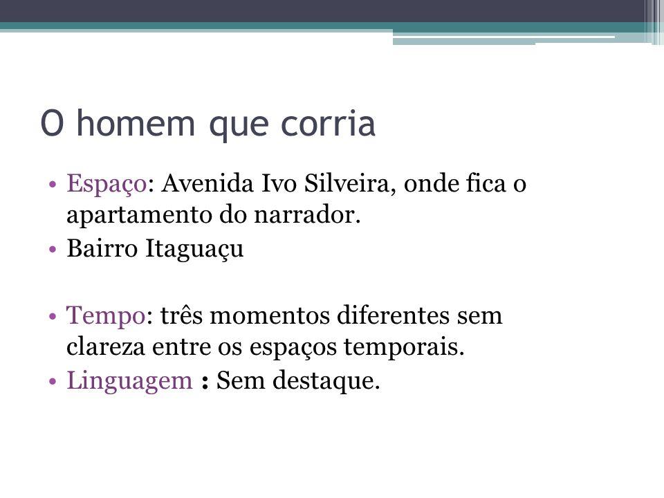 O homem que corria Espaço: Avenida Ivo Silveira, onde fica o apartamento do narrador. Bairro Itaguaçu Tempo: três momentos diferentes sem clareza entr