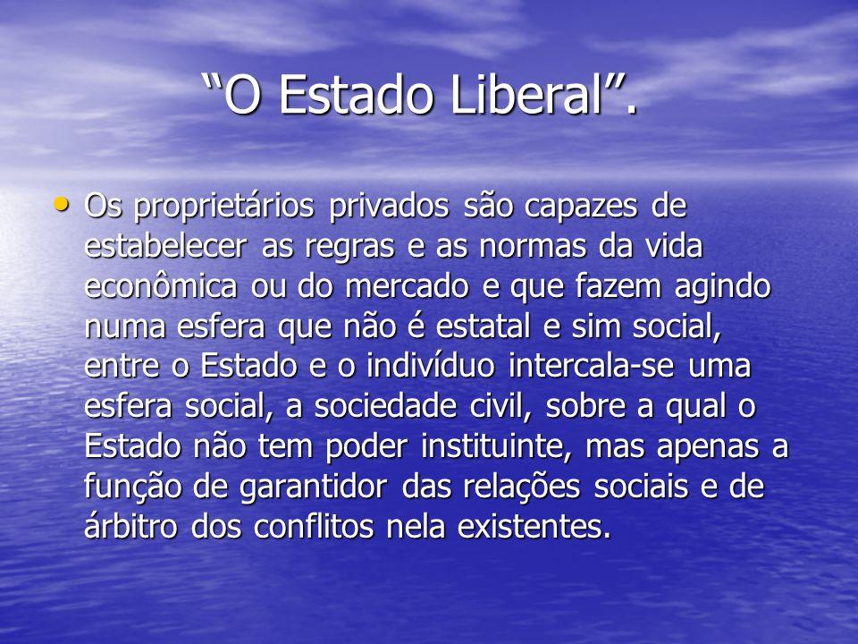 O Estado Liberal. O Estado Liberal. Os proprietários privados são capazes de estabelecer as regras e as normas da vida econômica ou do mercado e que f