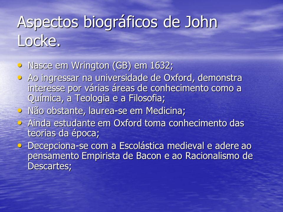 Aspectos biográficos de John Locke. Nasce em Wrington (GB) em 1632; Nasce em Wrington (GB) em 1632; Ao ingressar na universidade de Oxford, demonstra
