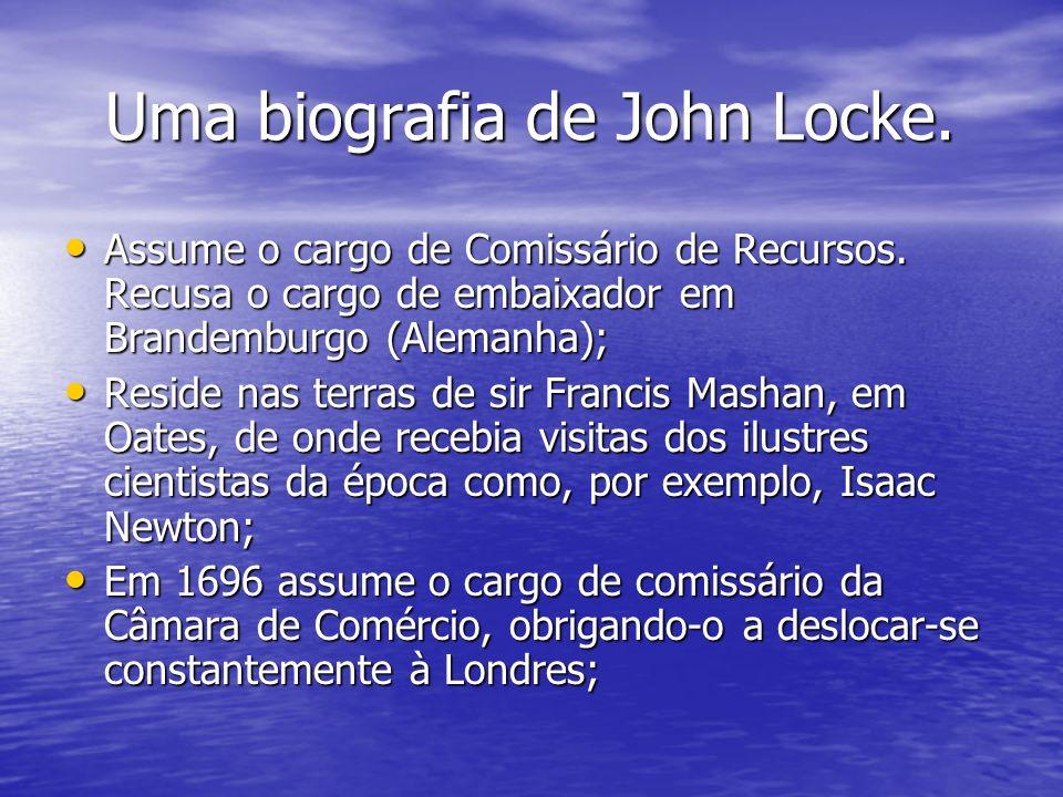 Uma biografia de John Locke. Uma biografia de John Locke. Assume o cargo de Comissário de Recursos. Recusa o cargo de embaixador em Brandemburgo (Alem