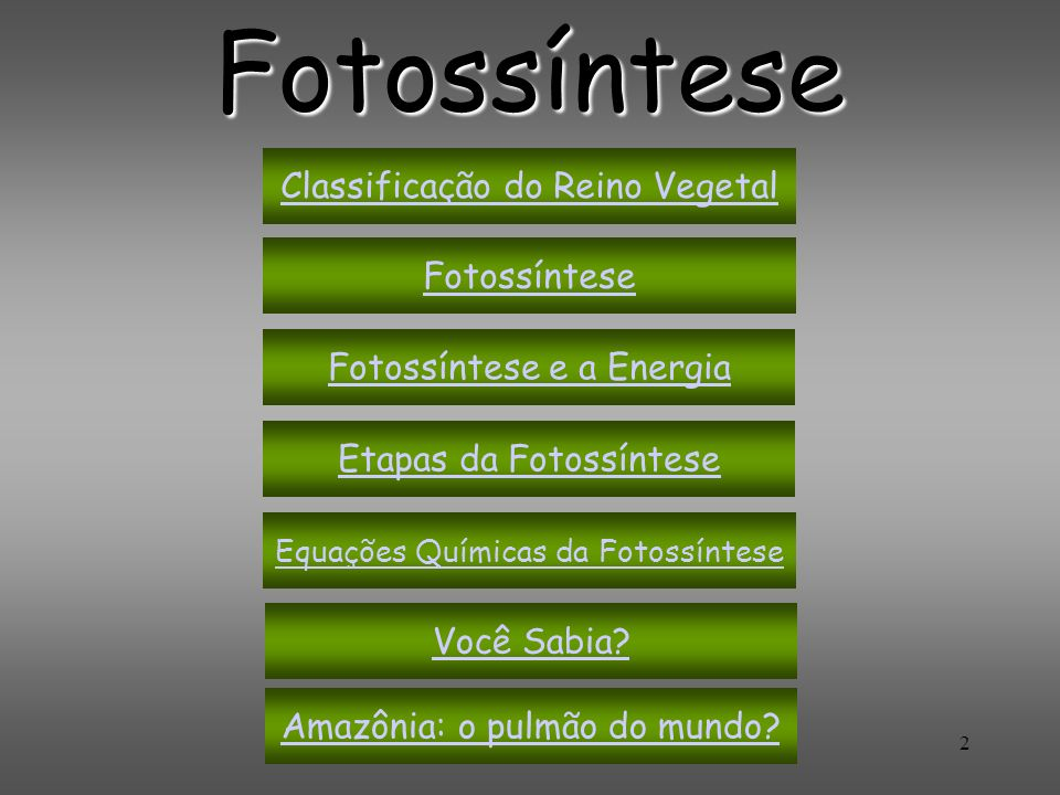 2 Fotossíntese Fotossíntese Fotossíntese e a Energia Etapas da Fotossíntese Equações Químicas da Fotossíntese Você Sabia? Amazônia: o pulmão do mundo?