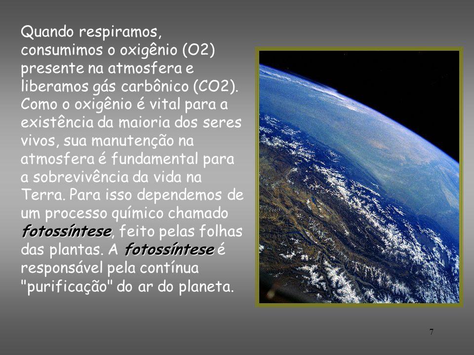 7 fotossíntese fotossíntese Quando respiramos, consumimos o oxigênio (O2) presente na atmosfera e liberamos gás carbônico (CO2). Como o oxigênio é vit