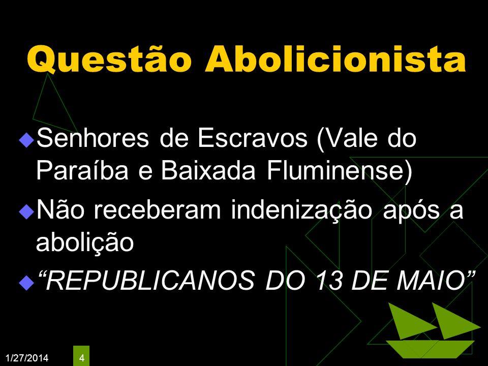 1/27/2014 4 Questão Abolicionista Senhores de Escravos (Vale do Paraíba e Baixada Fluminense) Não receberam indenização após a abolição REPUBLICANOS D