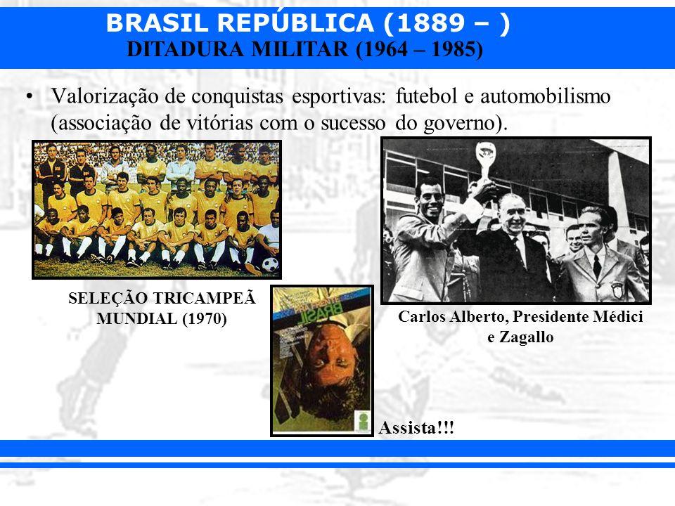 BRASIL REPÚBLICA (1889 – ) DITADURA MILITAR (1964 – 1985) Valorização de conquistas esportivas: futebol e automobilismo (associação de vitórias com o