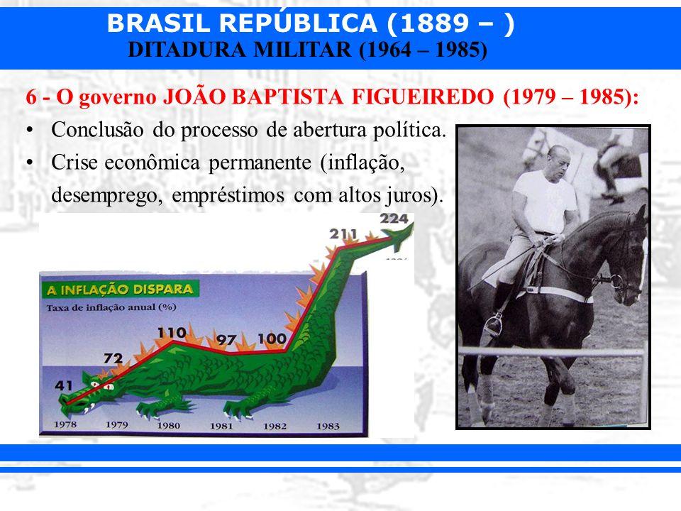 BRASIL REPÚBLICA (1889 – ) DITADURA MILITAR (1964 – 1985) 6 - O governo JOÃO BAPTISTA FIGUEIREDO (1979 – 1985): Conclusão do processo de abertura polí