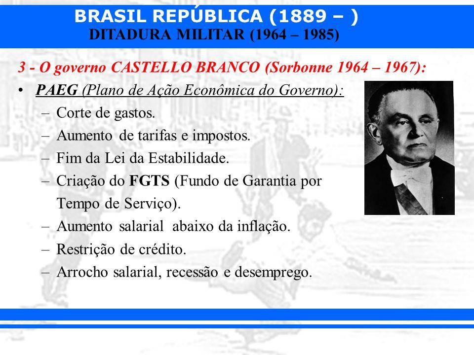 BRASIL REPÚBLICA (1889 – ) DITADURA MILITAR (1964 – 1985) 3 - O governo CASTELLO BRANCO (Sorbonne 1964 – 1967): PAEG (Plano de Ação Econômica do Gover