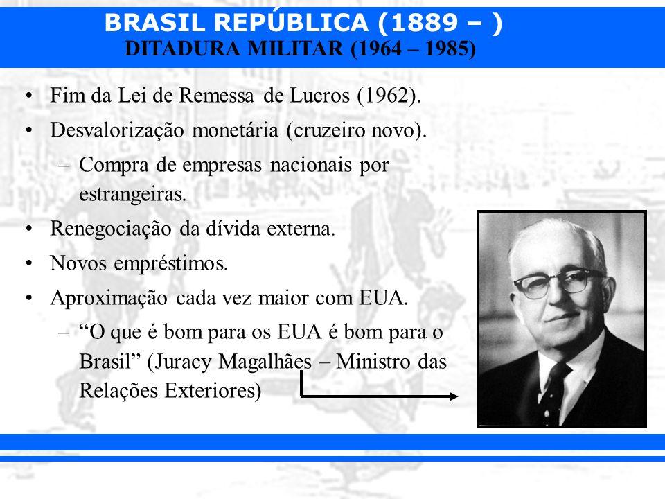 BRASIL REPÚBLICA (1889 – ) DITADURA MILITAR (1964 – 1985) Fim da Lei de Remessa de Lucros (1962). Desvalorização monetária (cruzeiro novo). –Compra de