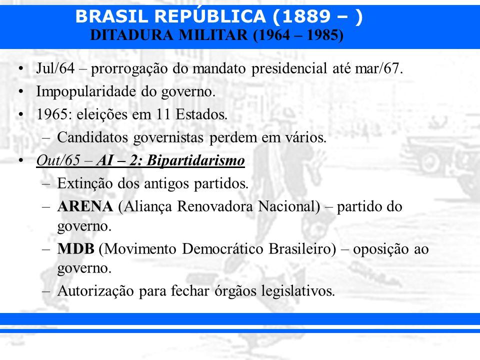 BRASIL REPÚBLICA (1889 – ) DITADURA MILITAR (1964 – 1985) Jul/64 – prorrogação do mandato presidencial até mar/67. Impopularidade do governo. 1965: el