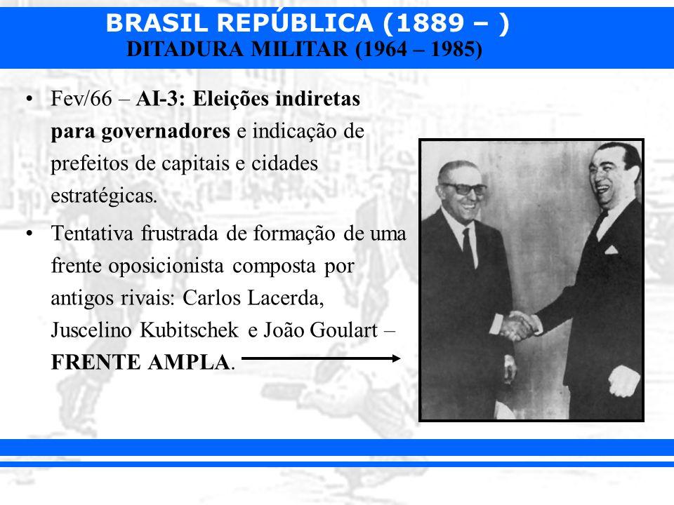 BRASIL REPÚBLICA (1889 – ) DITADURA MILITAR (1964 – 1985) Constituição de 1967: –Fortalecimento do Executivo.