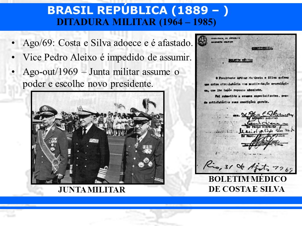 BRASIL REPÚBLICA (1889 – ) DITADURA MILITAR (1964 – 1985) Ago/69: Costa e Silva adoece e é afastado. Vice Pedro Aleixo é impedido de assumir. Ago-out/