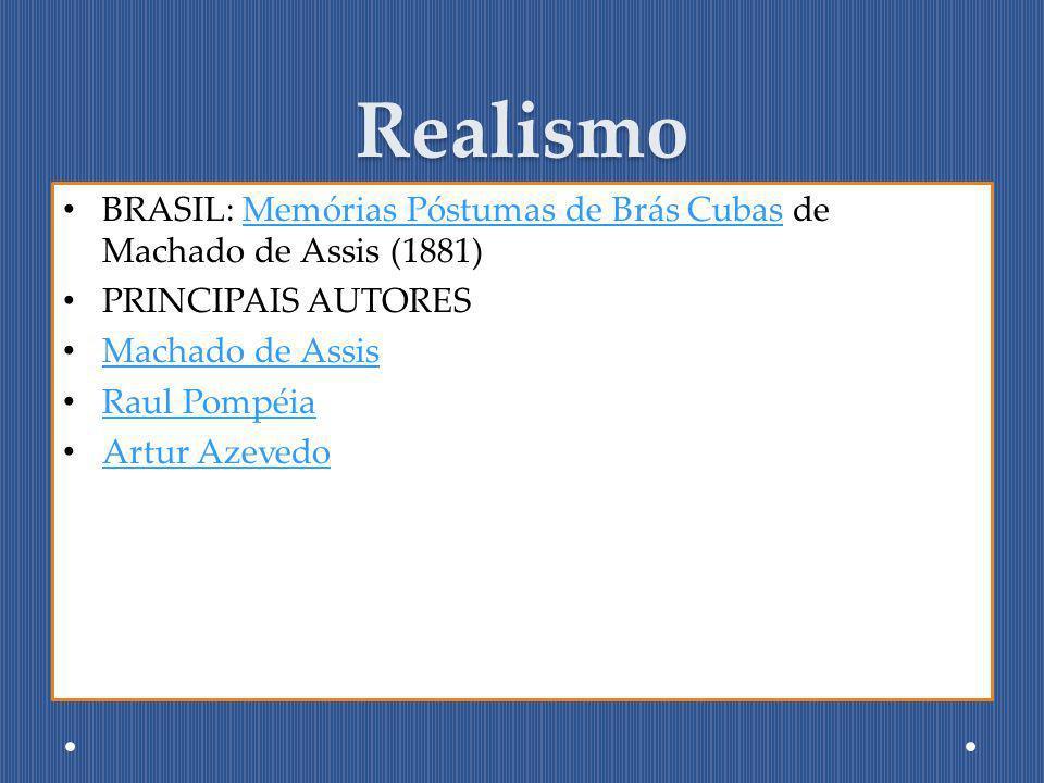 Realismo BRASIL: Memórias Póstumas de Brás Cubas de Machado de Assis (1881)Memórias Póstumas de Brás Cubas PRINCIPAIS AUTORES Machado de Assis Raul Po