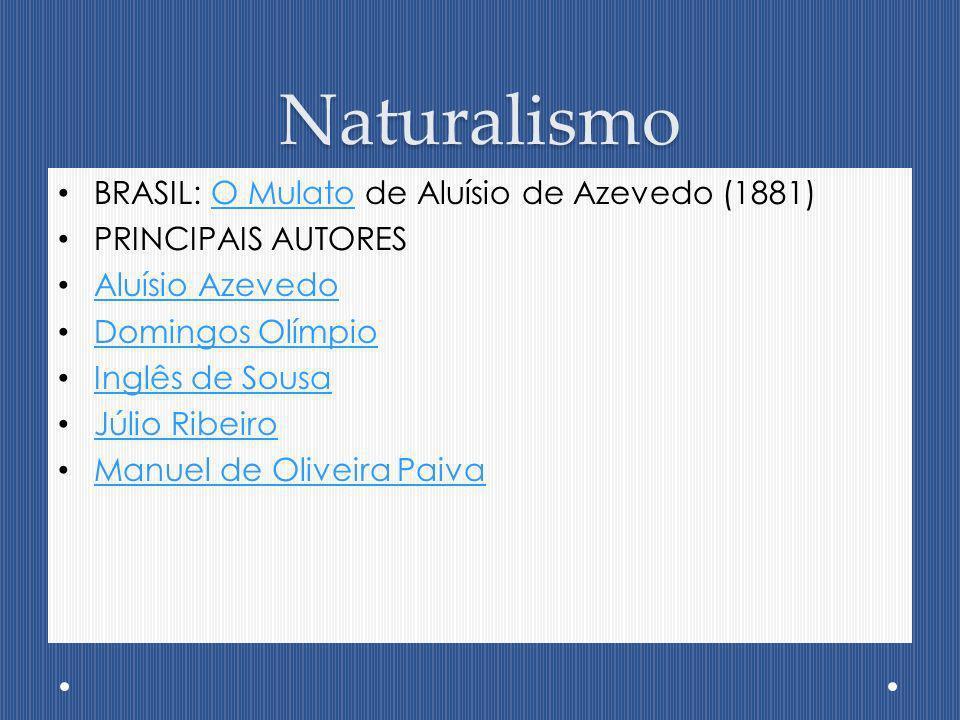 Naturalismo BRASIL: O Mulato de Aluísio de Azevedo (1881)O Mulato PRINCIPAIS AUTORES Aluísio Azevedo Domingos Olímpio Inglês de Sousa Júlio Ribeiro Ma