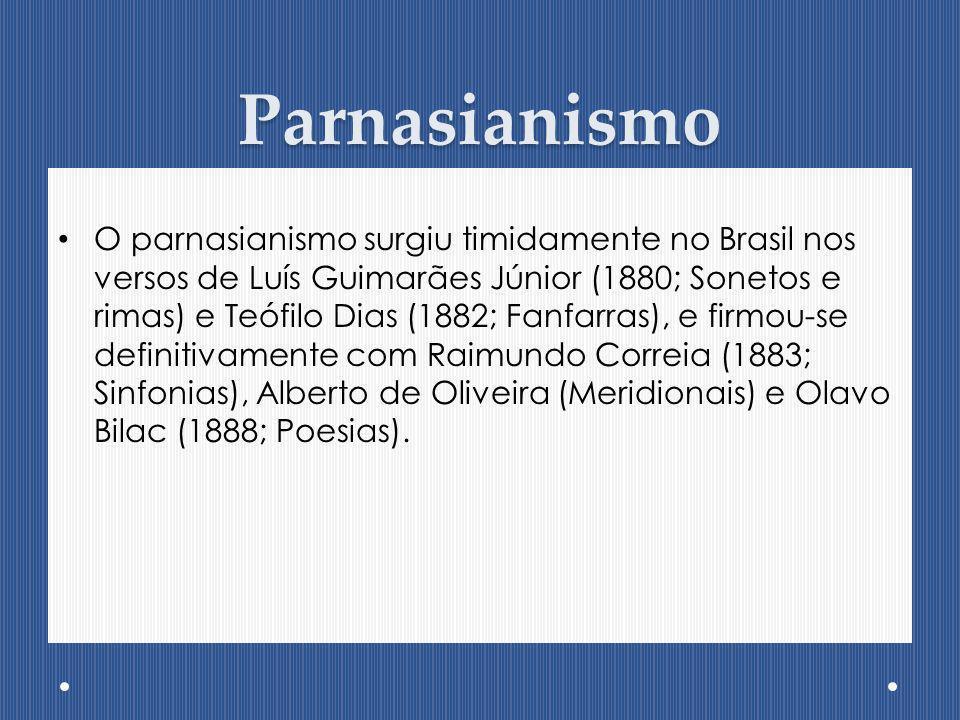 Parnasianismo O parnasianismo surgiu timidamente no Brasil nos versos de Luís Guimarães Júnior (1880; Sonetos e rimas) e Teófilo Dias (1882; Fanfarras