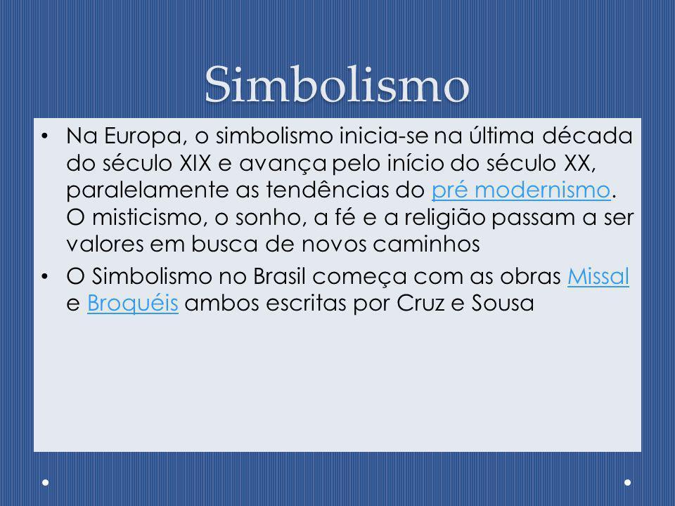 Simbolismo Na Europa, o simbolismo inicia-se na última década do século XIX e avança pelo início do século XX, paralelamente as tendências do pré mode