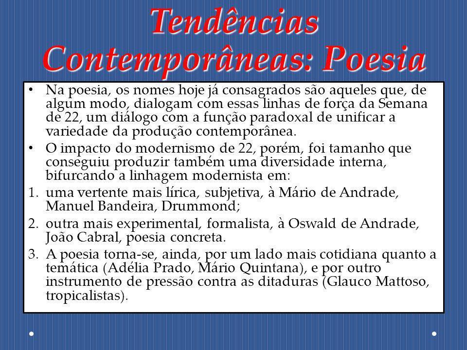 Tendências Contemporâneas: Poesia Na poesia, os nomes hoje já consagrados são aqueles que, de algum modo, dialogam com essas linhas de força da Semana
