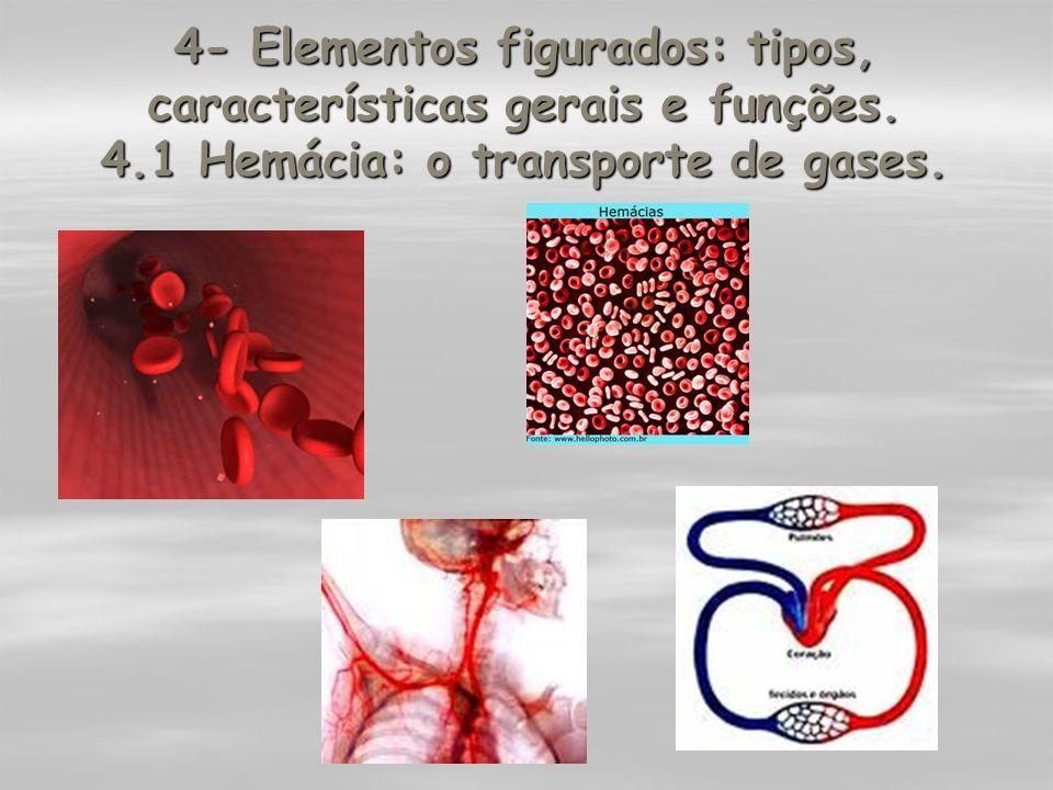 4- Elementos figurados: tipos, características gerais e funções. 4.1 Hemácia: o transporte de gases.
