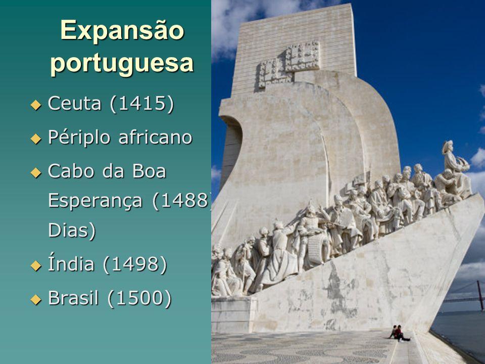 Expansão portuguesa Ceuta (1415) Ceuta (1415) Périplo africano Périplo africano Cabo da Boa Esperança (1488) Dias) Cabo da Boa Esperança (1488) Dias)