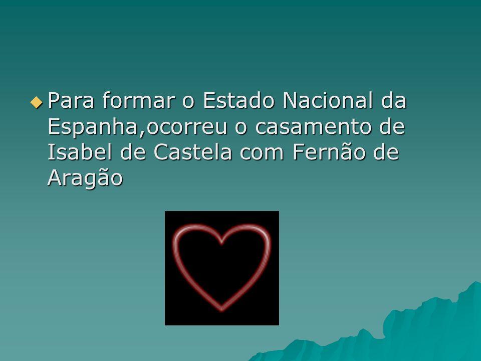 Para formar o Estado Nacional da Espanha,ocorreu o casamento de Isabel de Castela com Fernão de Aragão Para formar o Estado Nacional da Espanha,ocorre