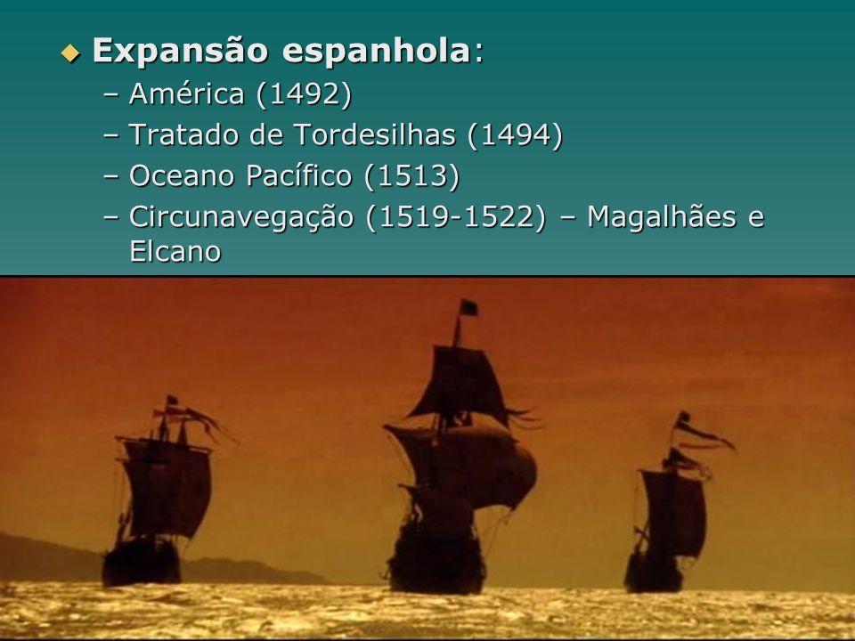 Expansão espanhola: –A–A–A–América (1492) –T–T–T–Tratado de Tordesilhas (1494) –O–O–O–Oceano Pacífico (1513) –C–C–C–Circunavegação (1519-1522) – Magal