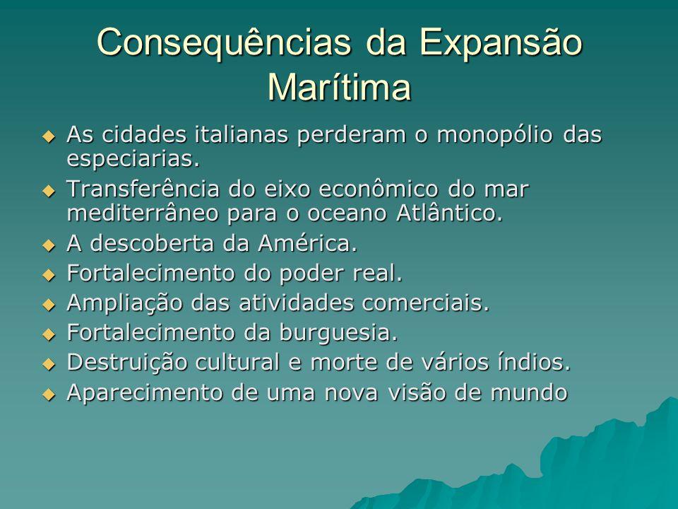 Consequências da Expansão Marítima As cidades italianas perderam o monopólio das especiarias. Transferência do eixo econômico do mar mediterrâneo para