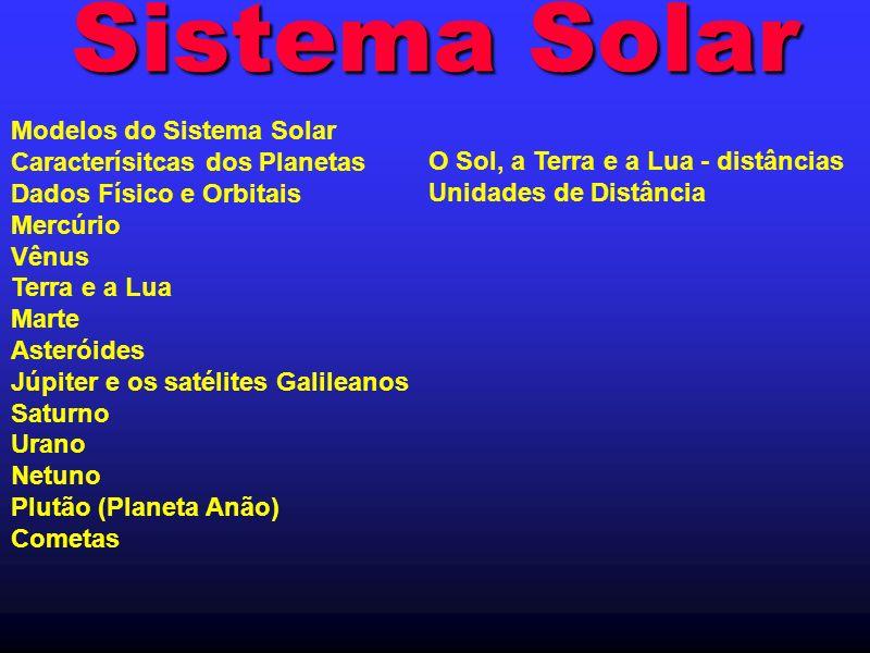 Sistema Solar Modelos do Sistema Solar Caracterísitcas dos Planetas Dados Físico e Orbitais Mercúrio Vênus Terra e a Lua Marte Asteróides Júpiter e os