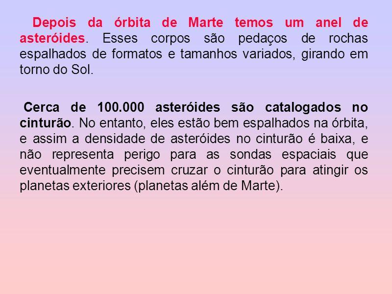 Depois da órbita de Marte temos um anel de asteróides. Esses corpos são pedaços de rochas espalhados de formatos e tamanhos variados, girando em torno