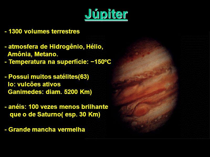 Júpiter - 1300 volumes terrestres - atmosfera de Hidrogênio, Hélio, Amônia, Metano. - Temperatura na superfície: 150ºC - Possui muitos satélites(63) I