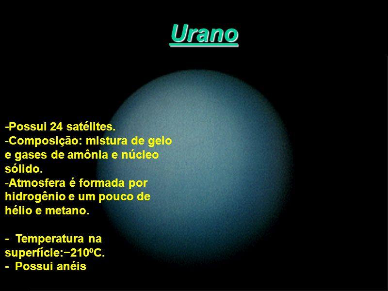 Urano -Possui 24 satélites. -Composição: mistura de gelo e gases de amônia e núcleo sólido. -Atmosfera é formada por hidrogênio e um pouco de hélio e