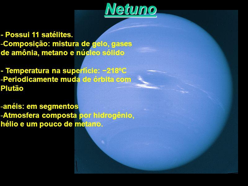 Netuno - Possui 11 satélites. -Composição: mistura de gelo, gases de amônia, metano e núcleo sólido - Temperatura na superfície: 218ºC -Periodicamente